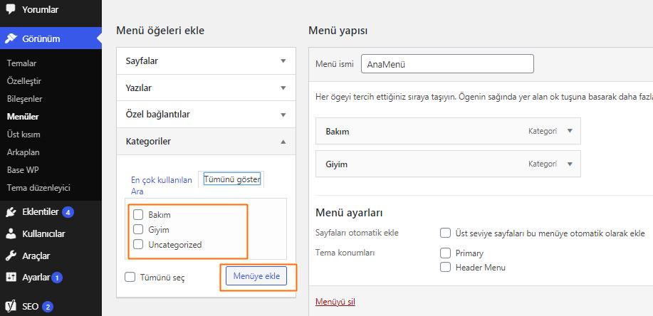 WordPress-admin-paneli-bileşenleri
