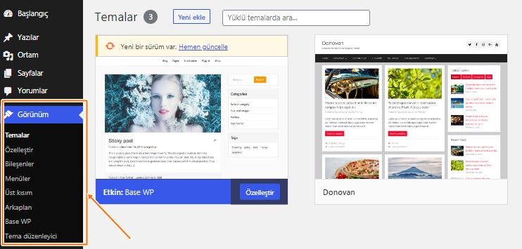 Wordpress-yönetim-paneli-menüsü